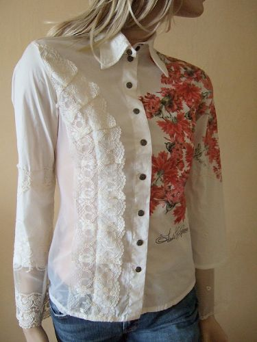 SAVE THE Queen White Cotton & Lace Floral with Mesh Stretch Shirt Blouse S uk 8